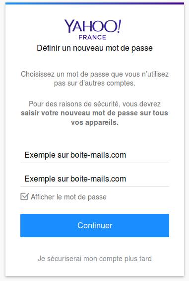 Mot de passe Yahoo