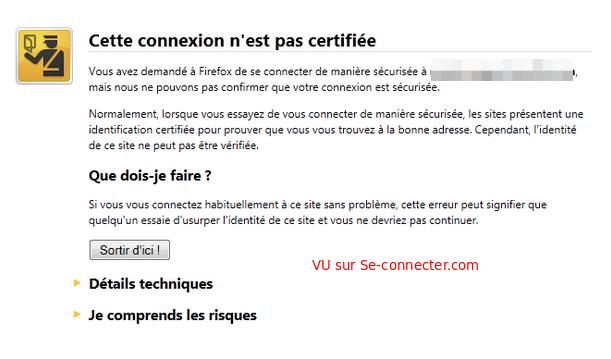Connexion non certifiée