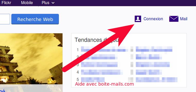 Bouton Connexion sur Yahoo.fr