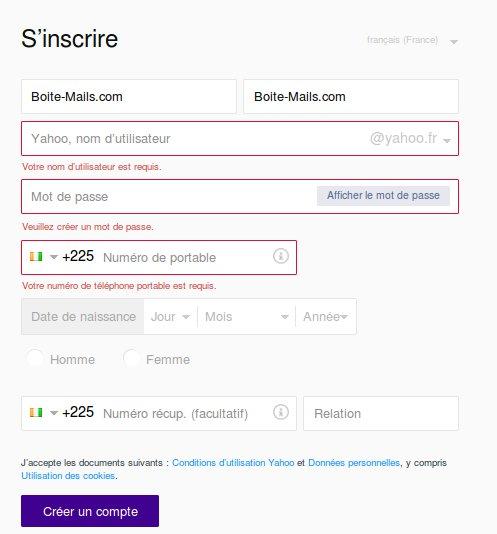 S'inscrire sur Yahoo depuis la Côte d'ivoire