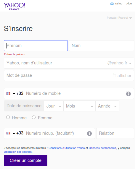 Inscription sur yahoo