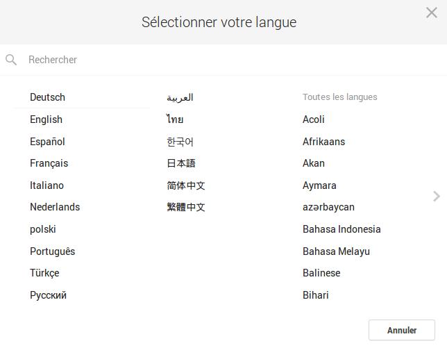 Langues sur Google