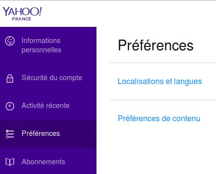 Options de langue sur Yahoo