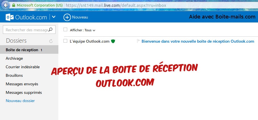 Boite de reception Outlook