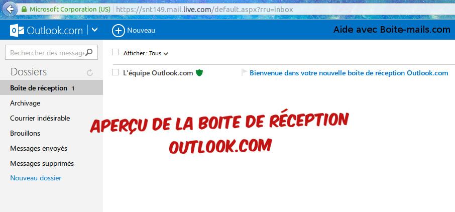 Boite de reception Outlook