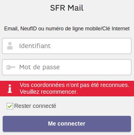 Message d'erreur SFR