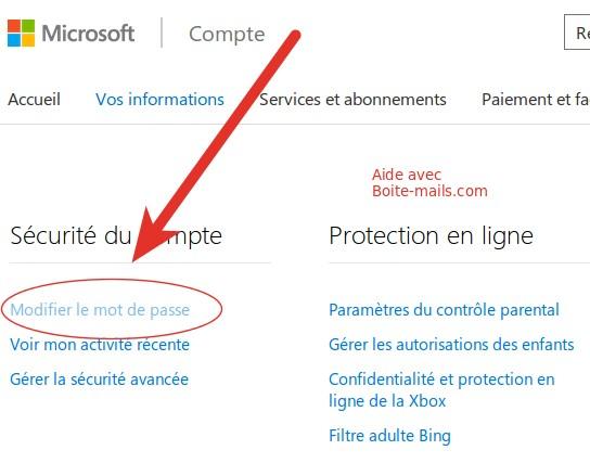 Modifier mot de passe hotmail
