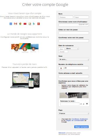 Créer votre compte Google