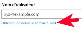 Obtenez une nouvelle adresse e-mail