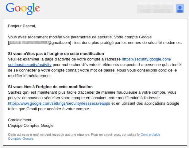 sécurité gmail