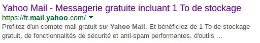 "Recherche  ""Yahoo Mail"" sur Google"